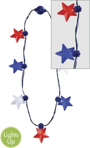 Light-Up LED Red, White & Blue Star Necklace