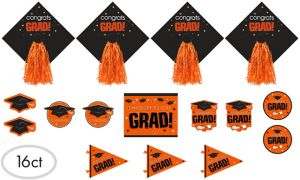 Orange Graduation Cutouts 16ct - Congrats Grad