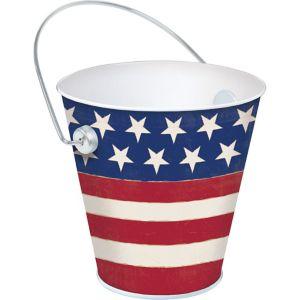 Patriotic American Flag Metal Pail - Rustic Americana