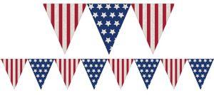 American Flag Burlap Pennant Banner - Rustic Americana