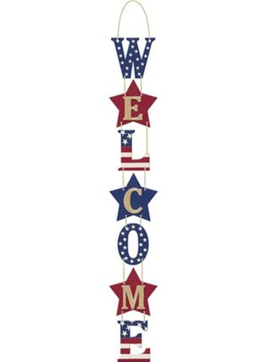 Patriotic Stacked Welcome Sign - Rustic Americana