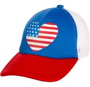 Heart American Flag Trucker Hat