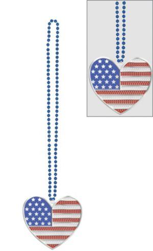 Heart American Flag Pendant Bead Necklace