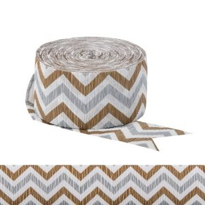 Gold & Silver Chevron Streamer