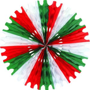 Red, White & Green Paper Fan Decoration