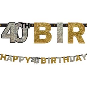 Prismatic 40th Birthday Banner - Sparkling Celebration