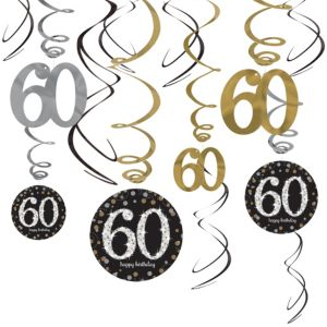 60th Birthday Swirl Decorations 12ct - Sparkling Celebration