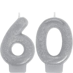 Glitter Silver Number 60 Birthday Candles 2ct