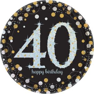 Prismatic 40th Birthday Lunch Plates 8ct - Sparkling Celebration