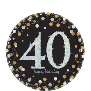 Prismatic 40th Birthday Dessert Plates 8ct - Sparkling Celebration