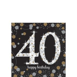40th Birthday Beverage Napkins 16ct - Sparkling Celebration