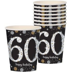 60th Birthday Cups 8ct - Sparkling Celebration