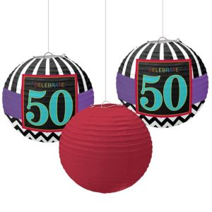 Celebrate 50th Birthday Paper Lanterns 3ct