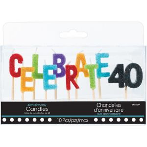 Glitter Celebrate 40 Birthday Toothpick Candles 10ct