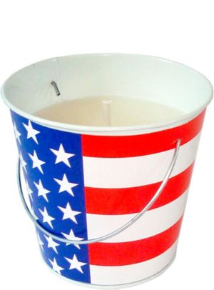 Patriotic American Flag Citronella Candle Pail