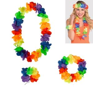 Rainbow Flower Lei Accessory Set 3pc