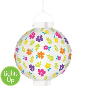 Light-Up Hibiscus White Paper Lantern