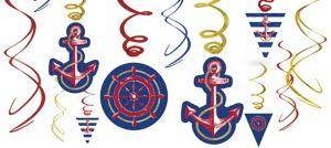 Striped Nautical Swirl Decorations 12ct
