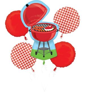 BBQ Red Gingham Balloon Bouquet 5pc