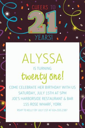 Custom Brilliant 21st Birthday Invitation