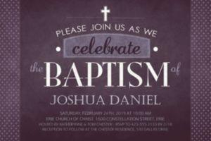 Custom Chalkboard Baptism Invitation