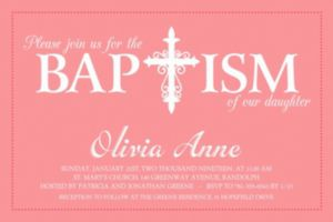 Custom Fancy Baptism Cross Peach Invitation