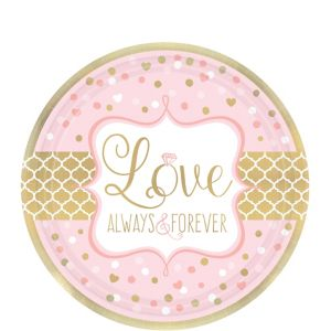 Sparkling Pink Wedding Dessert Plates 8ct