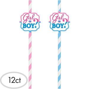 Girl or Boy Gender Reveal Paper Straws 12ct