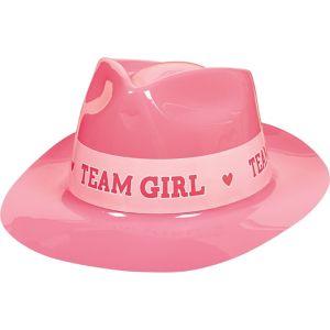 Team Girl Plastic Fedora - Girl or Boy Gender Reveal