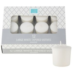 Large White Votive Candles 12ct