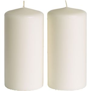 Large White Pillar Candles 2ct