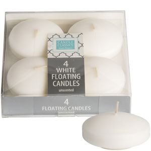 Large White Floating Candles 4ct
