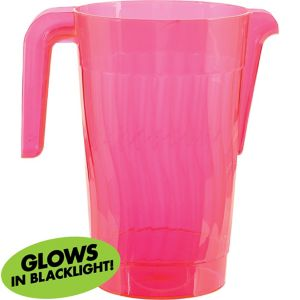Black Light Neon Pink Plastic Pitcher