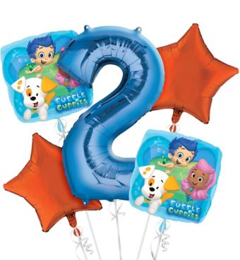 Bubble Guppies 2nd Birthday Balloon Bouquet 5pc