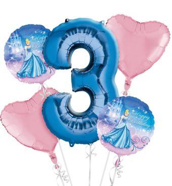 Cinderella 3rd Birthday Balloon Bouquet 5pc