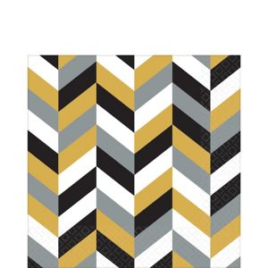 Black, Gold & Silver Herringbone Lunch Napkins 16ct