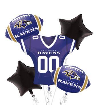 Baltimore Ravens Jersey Balloon Bouquet 5pc