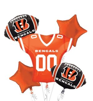 Cincinnati Bengals Jersey Balloon Bouquet 5pc