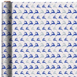 Metallic Blue Reindeer Gift Wrap