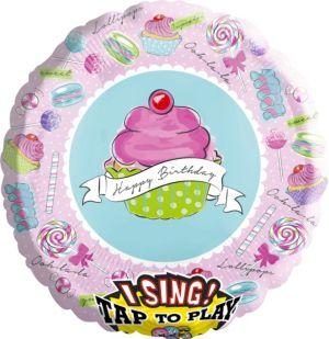 Giant Happy Birthday Cupcake Balloon - Singing