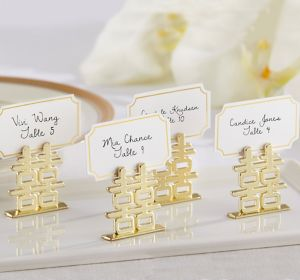 Gold Chinese Double Happiness Place Card Holders
