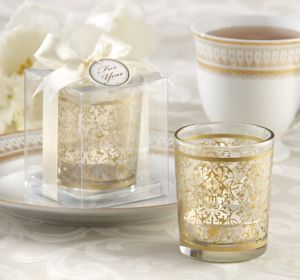 Gold Damask Tealight Candle Holders
