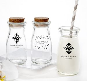 PERSONALIZED Wedding Glass Milk Bottles with Corks (Printed Glass) (White, Damask & Dots)