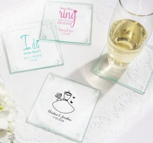 PERSONALIZED Wedding Glass Coasters, Set of 12 (Printed Glass) (White, I Do Woo Hoo)