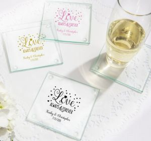 PERSONALIZED Wedding Glass Coasters, Set of 12 (Printed Glass) (Pink, Sparkling Pink Wedding)