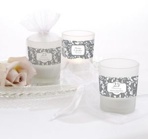 PERSONALIZED Wedding Glass Votive Candle Holders (Printed Label) (25th Anniversary)