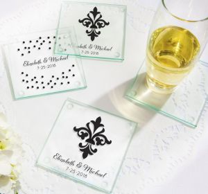 PERSONALIZED Wedding Glass Coasters, Set of 12 (Printed Glass) (White, We're Engaged Crowns)