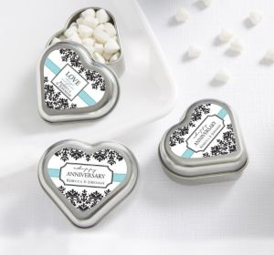 PERSONALIZED Wedding Heart-Shaped Mint Tins with Candy (Printed Label) (Always & Forever)