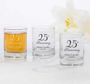 PERSONALIZED Wedding Shot Glasses (Printed Glass) (Silver, 25th Anniversary)