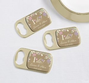 PERSONALIZED Wedding Bottle Openers - Gold (Printed Epoxy Label) (I Do)